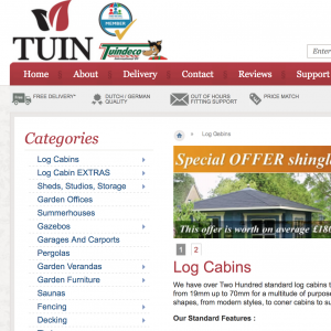 Tuin Log Cabins Website Page