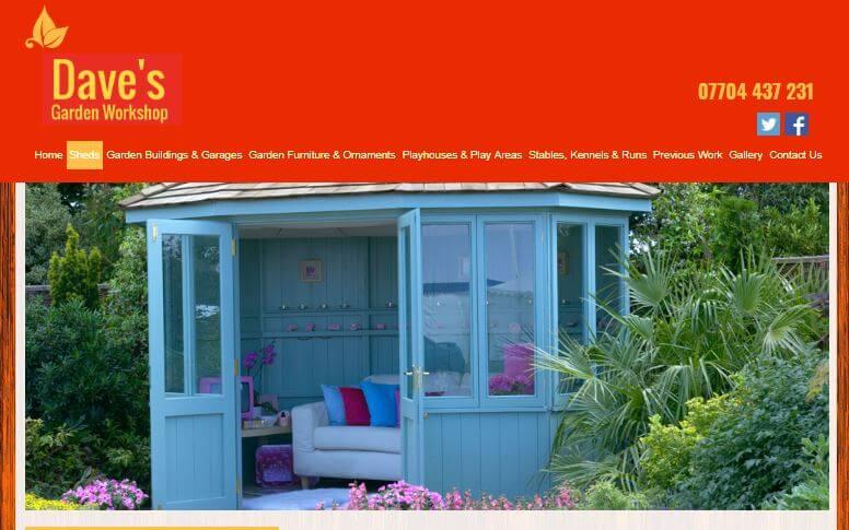 Daves garden workshop website screenshot