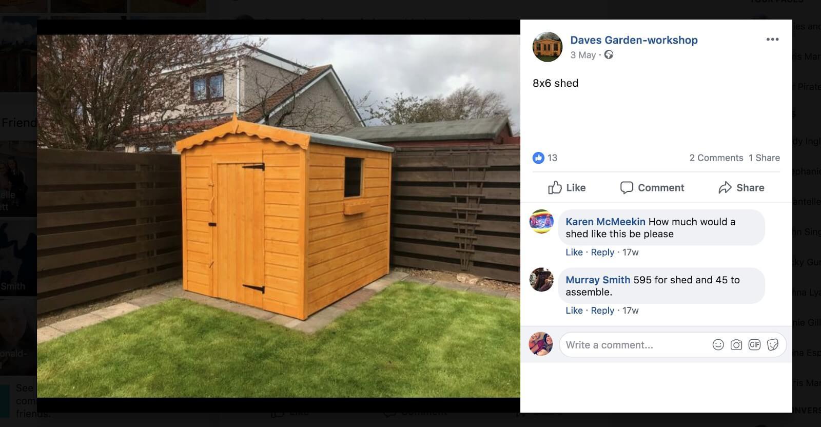 Screenshot of Daves facebook page