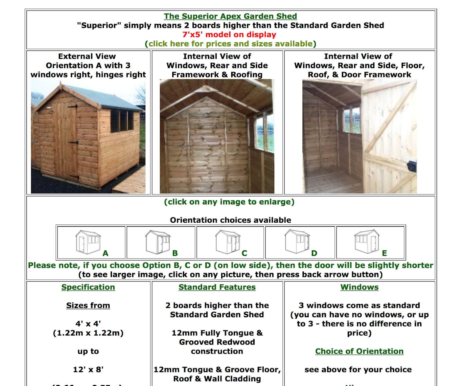 Wood n garden shed range screenshot