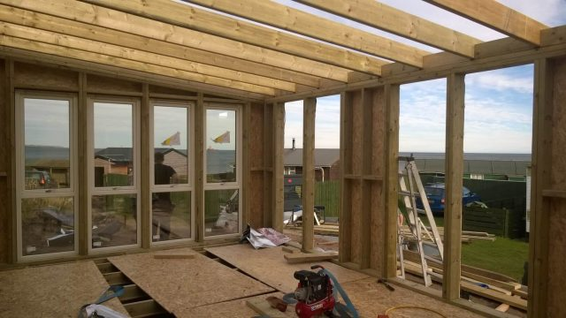 image of shell of garden room at installation of windows and doors stage