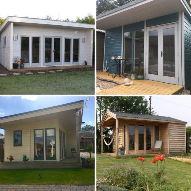 four images of garden rooms in one pic