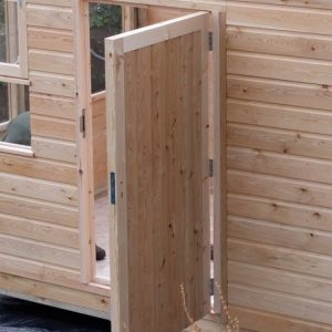 picture of open shed door showing concealed hinges