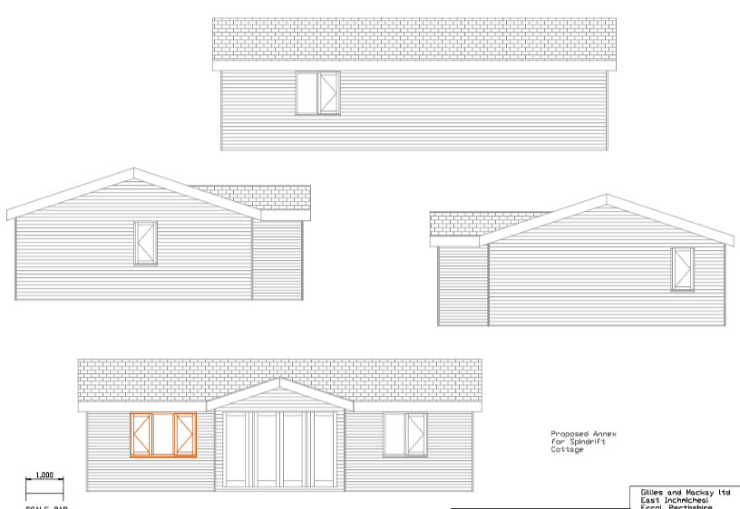 drawing of plans for outer of spindrift garden room
