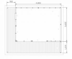 schematic of the floor plan for the studio